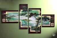 Wholesale Hand Landscapes Forest - Hand-painted Hi-Q modern landscape oil-painting on canvas--spring mountain forest 4pcs set framed