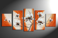 Oil Painting orange wall paintings - Hand painted Hi Q modern wall art home decorative abstract flower oil painting on canvas light orange brown bombax ceiba set framed