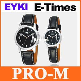 Wholesale Eyki Watch Leather Male - EYKI E-Times Leather Wrist Quartz Lover's Watch Male black Freeshipping Dropshipping