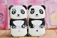 Wholesale Iphone Silicone 1pcs - Black 3D Cute Panda Soft Silicone Skin Back Cover Case For iphone 4 4G 4S 1pcs lot free dropshipping