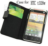 Wholesale Desire V Case - genuine leather case for HTC Desire V flipcover for t328w mutil function credit and bill site sublim