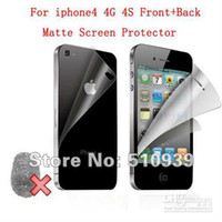 Wholesale Iphone 4s Front Screen Protectors - High quality Anti-Glare Matte Screen Protector for iphone 4 4G 4S Front+Back with Retail Package 20p