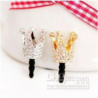 Wholesale Dustproof Plug Crown - High quality!! Fashion !!!Gold Silver Bridal Crown Crystal Rhinestone dustproof of cell-phone Mixed