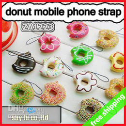 Wholesale Donut Mobile - [P] FREE SHIPPING mobile phone strap Donut squishy charm Cute bread pendant fashion cute promotion g