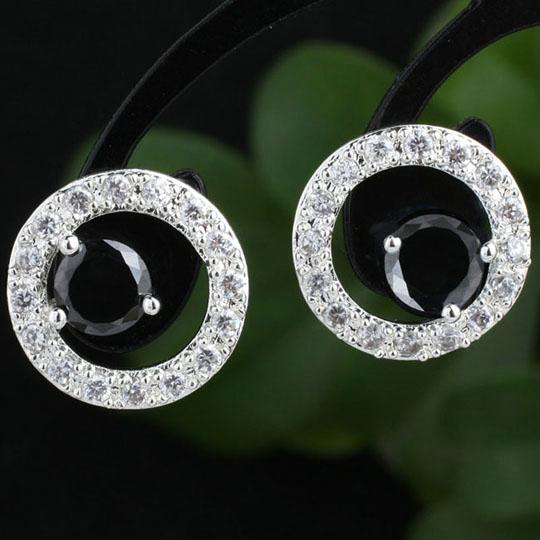 Lady Round Circle Black Onyx Piercing Studs Authentic .925 Sterling Silver Earrings MNS E093BO