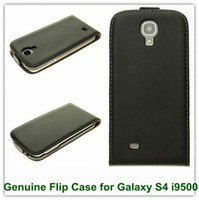 Wholesale S4 Flip Down - New Genuine Leather Up and Down Style Flip Cover Case for Samsung Galaxy S4 i9500 Free Shipping