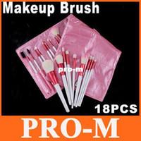 Wholesale 18 Piece Makeup Brush Set - 18 PCS Professional Makeup Brush Set Tool with Pink Leather Case, Free Shipping Dropshipping