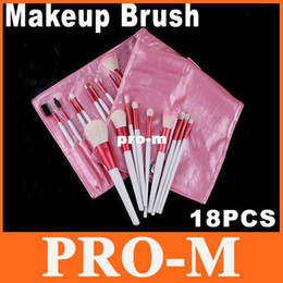 Wholesale 18 Piece Makeup Brush Set - 18 PCS Professional Makeup Brush Set Tool with Pink Leather Case, Free Shipping Dropshipping