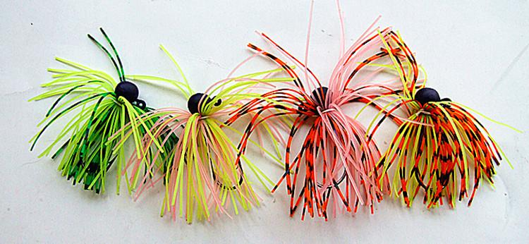 3g Jigs Silicone Skirt Bait Fishing Lures Fishing Tackle Lead Head Hook Multiple colors