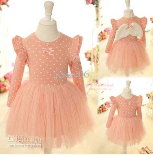 Baby Kids Girls Lace Dress Angel Wing Long Sleeve Birthday Party