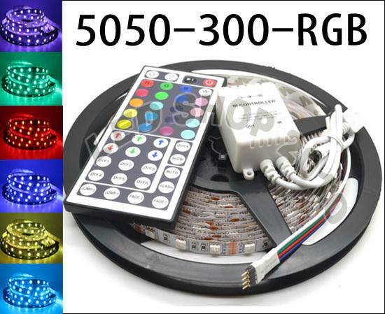 5M 유연한 RGB LED 라이트 스트립 16 피트 44key IR 리모트 컨트롤러와 5050 SMD 5M 300 개의 LED