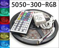 12v led aydınlatma şeritleri toptan satış-5 M Esnek RGB LED Işık Şeridi 16FT 5050 SMD 5 M 300 LED'ler ile 44key IR UZAKTAN Kontrolörü