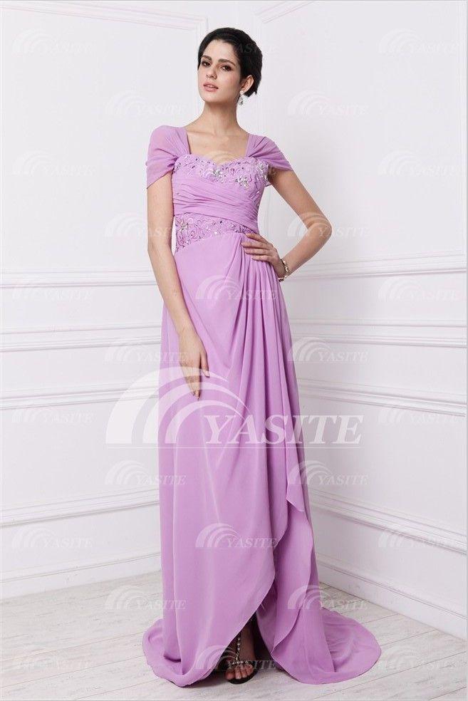2013 New Design Hotsale Prom Dress Fashion Style Square Asymmetrical Beaded Chiffon Evening Dress