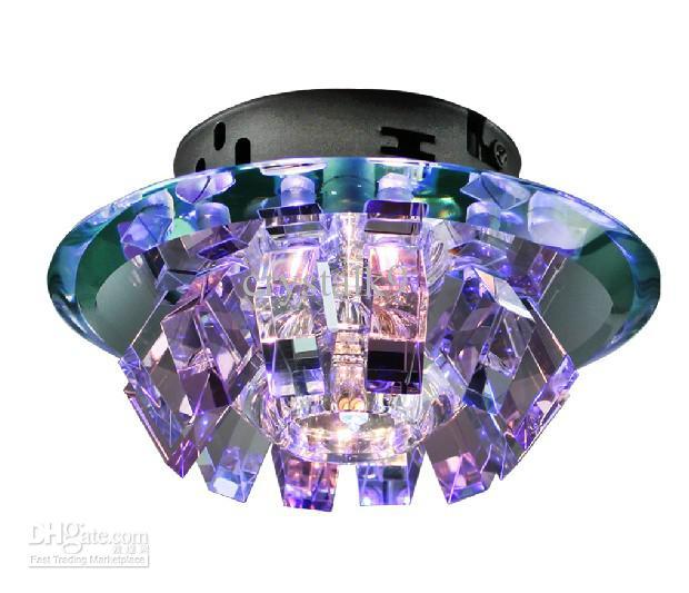 Moderno Minimalista Púrpura Rosa Marrón Oscuro K9 Cristal LED Lámpara de techo Lámpara de pasillo Luz de día 18 cm