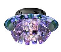 luz de techo de cristal marrón al por mayor-Moderno Minimalista Púrpura Rosa Marrón Oscuro K9 Cristal LED Lámpara de techo Lámpara de pasillo Luz de día 18 cm