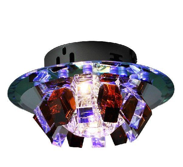 Modern Minimalist Purple Pink Dark Brown K9 Crystal LED Ceiling Lamp Chandelier Aisle Light Dia 18cm