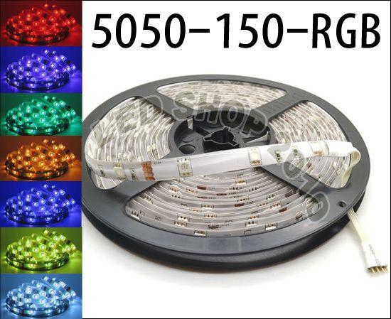 5M 5050 SMD RGB LED Luz de tira IMPERMEABLE + 44 teclas Control remoto IR + fuente de alimentación 110V-240V