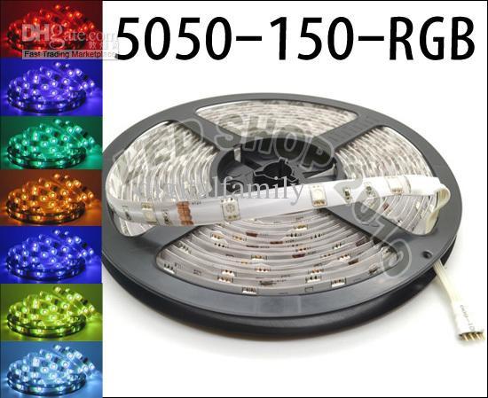 5M 5050 SMD RGB LED Strip light WATERPROOF + 44 tasti Telecomando IR + alimentazione 110V-240V