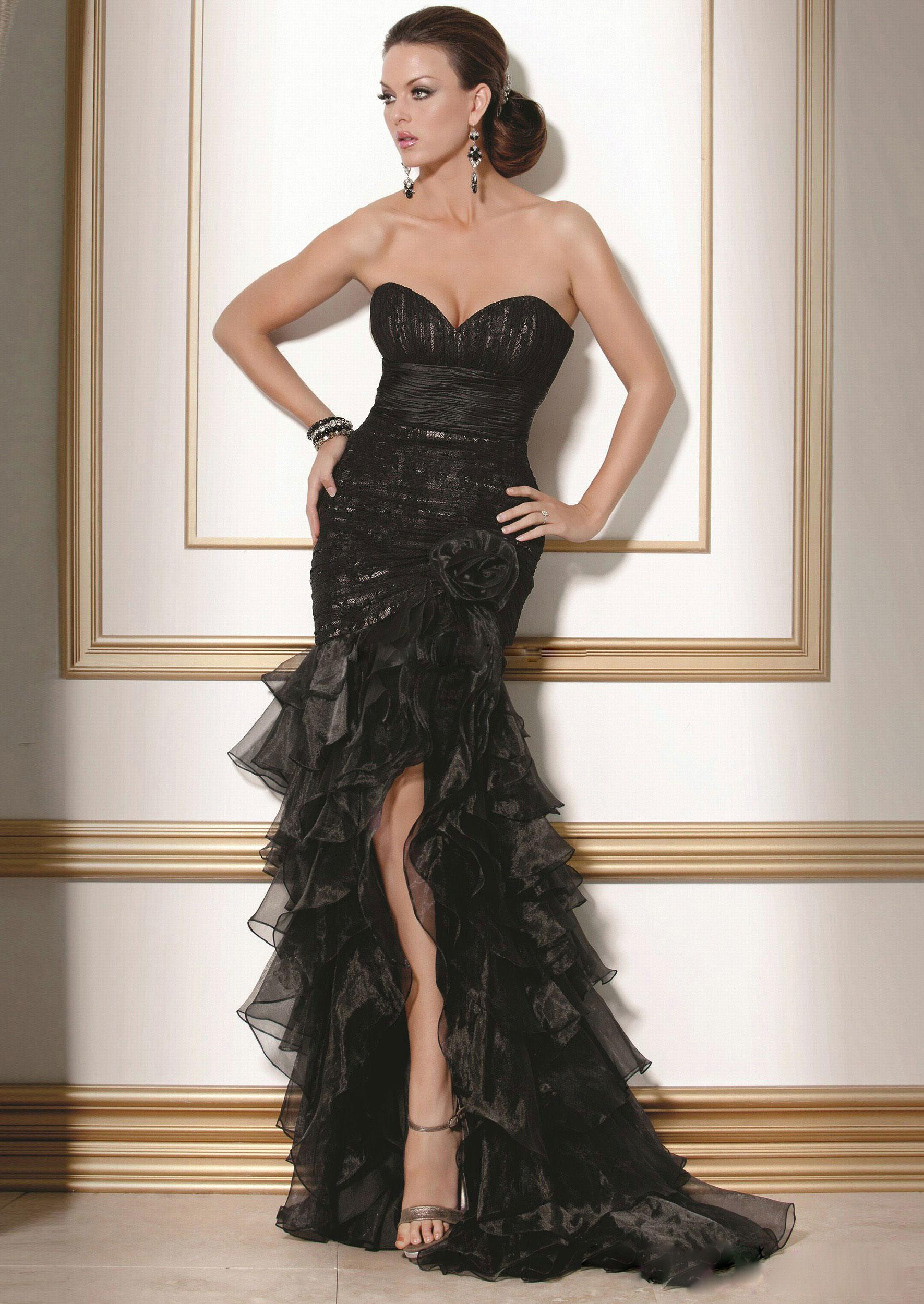 Sexy black wedding dresses lace sweetheart pleated bodice for Black wedding dresses online
