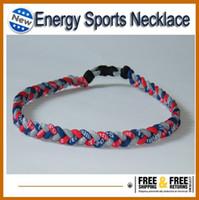 Wholesale Christmas Rope Bracelets - For Christmas softball Baseball Sports Titanium 3 Rope Braided Sport Necklace bracelet