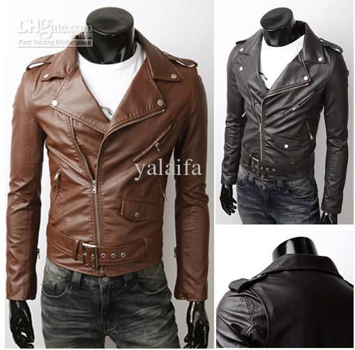 Men'S Slim Fit Pu Leather Jacket Lapel Epaulet Slime Wind Proof ...