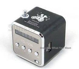 Wholesale Digital Mini Radio - Xmas Gift Portable Mini Speaker TD-V26 HiFi Stereo Audio Speakers FM Radio TF U Disk Slot Multi-Speaker Digital Sound Box Mp3 Music Player