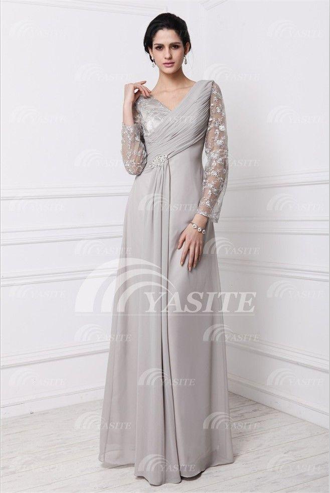 2013 Hotsale Neoteric Design V-Neck Long Shoulder Sweep Train Applique Formal Chiffon Evening Dress