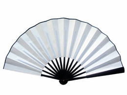 "Wholesale Folding Hand Fans Cloth - 10"" 8"" Blank White Folding Fan DIY Wedding Program Fine Art Painting Mens Silk Fabric Chinese Hand held Fans Crafts Gift"