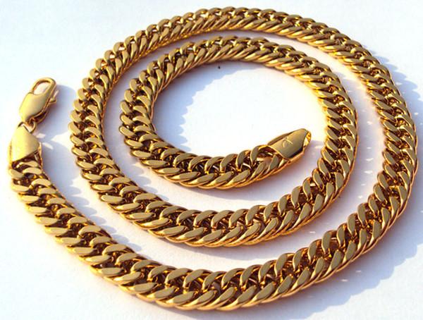 Collar de joyería de oro sólido amarillo real de los hombres de Noble 100% real ancho de 11 mm 23.6 pulgadas Níquel libre, no alérgico, no es fácil de manchar