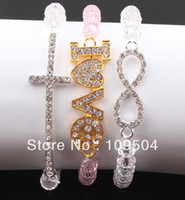 Wholesale Sideways Cross Infinity Bracelet Charms - Honesty Rhinestone Crystal Beads Sideways Cross Love Infinity Digit 8 Charm Stretchy Bracelet Jewelr