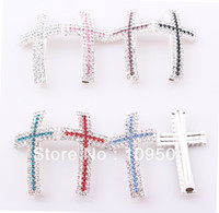 Wholesale Rhinestone Connectors For Bracelets - Crystal Claw Chain Sideways Cross Connector Rhinestone Cross Links Charms For Bracelet Making 50pcs