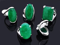 Wholesale Lady Ring Green Stone - Hot Sale Rings Jewelry Lots Mixed 50pcs Manmade Jade Stone Womens Lady Silver P Rings [ST40*50]