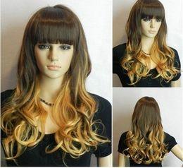 Wholesale Long Brown Blonde Wavy - Long Wavy Straight bangs Dark brown + Blonde Mix women Wig