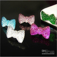 Wholesale Bow Anti Dust Earphone - free shipping +20pcs lot Crystal Bow Anti Dust 3.5mm Earphone Jack Plug Stopper for Phones With pp b