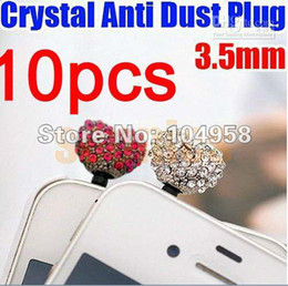 Wholesale Crystal Cat Dust Plugs - Cat and Heart 3.5mm Anti Dust Rhinestone Crystal Earphone Jack Plug for iPhone 3GS 4 4S 5 Free Shipp