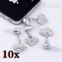 Wholesale Earphone Jack Plug Clear - 10P AB Clear Dangle Heart Anti Dust Crystal Earphone Plug Stopper Cap for iPhone Free shipping