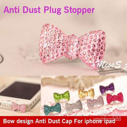 Wholesale Iphone Bow Plugs - fashion Anti Dust Headphone bow design 3.5mm Jack Plug Bling Covers For iPhone ipad iPod ,50PCS LOT