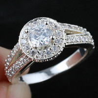 Lady Vintage White Topaz Wedding Band solido 925 anello d'argento R130 Wedn Size 5 6 7 8.5 9.5