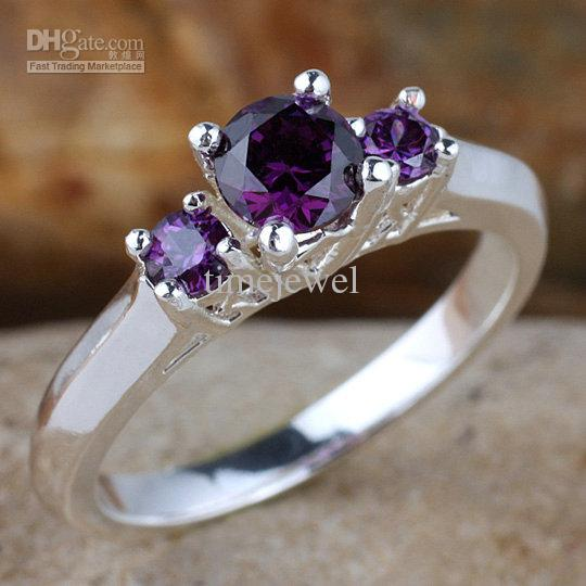 Women 3-stone Set Purple Amethyst Engagement Band 925 Sterling Silver Ring R134PA WED Size 5.5