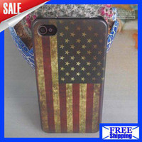 Wholesale Iphone 4s Retro Usa - Retro National UK USA Flag Hard Plastic Matte Case For iPhone 4S 4, Free Shipping