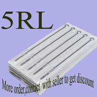 iğneler toptan satış-Pro 50 adet / grup 5RL Önceden yapılmış Steril Dövme İğneler Tek Dövme Tabancası Kitleri Tedarik