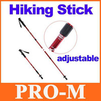 Wholesale Adjustable AntiShock Trekking Hiking Walking Stick Pole quot to quot with Compass H8307R Dropshipping