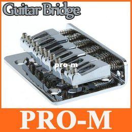Wholesale Guitar Bridge Wholesale - Guitar Parts 65mm Chrome 6 Strings Saddle Hardtail Bridge Top Load I116 Free Shipping