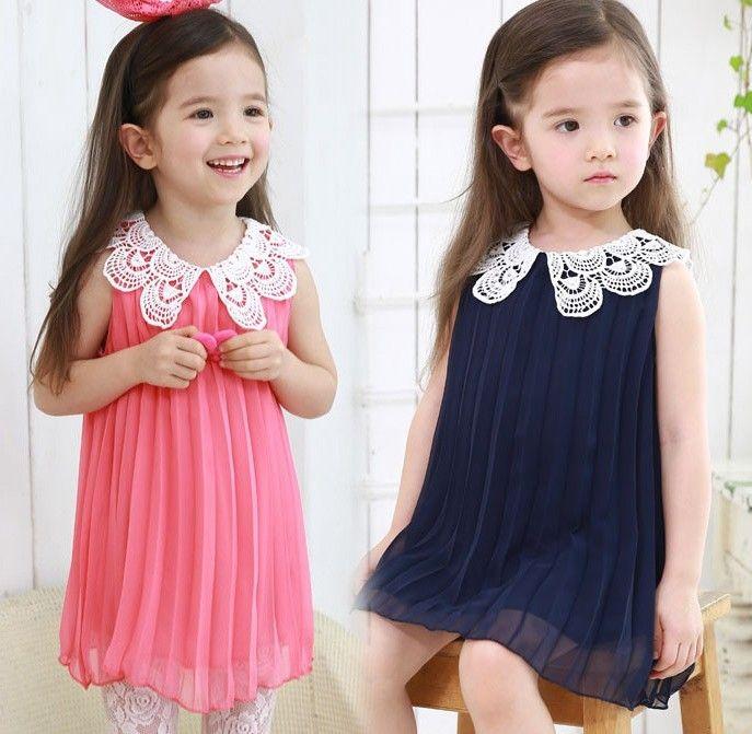2013 Girl's Chiffon Dresses Crochet Collar Pleated Dress Children's Clothing