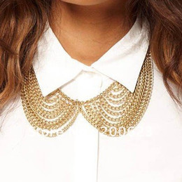 Wholesale Collar Necklace Beaded - Free Shipping@_@ Woman Gold False Collar Neck Choker Bib Necklace Chunky Chain Rock Biker Punk,NBC00