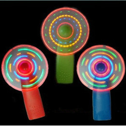 Wholesale Small Fan Led Lights - 10pcs lot Summer led mini fan colorful small fan flash toy Rave LED Lighted Toys