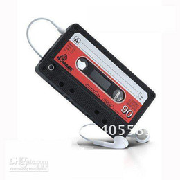 Wholesale Tape Cassette Back Cover - Silicone Cassette Tape Cases for iPhone 4   4G,Soft Back Cover Case Free shipping