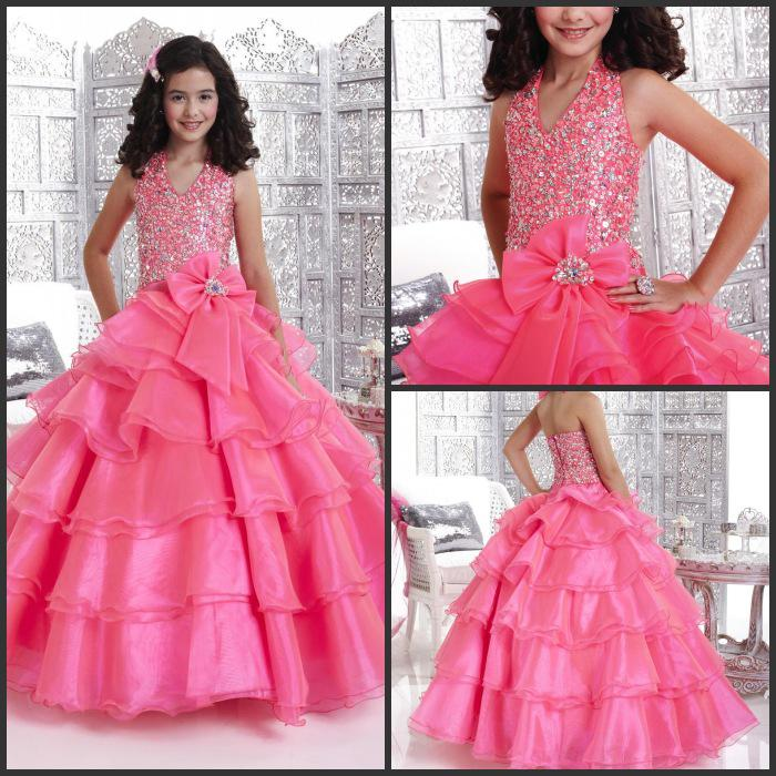 Pageant For Kids Ball Gown Halter Pink Tiered Organza Rhinestone ...