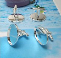 ingrosso gemelli in argento vuoto-10PCS Silver Plate gemello 25x18mm ovali vuote Link Impostazioni Cuff # 22679