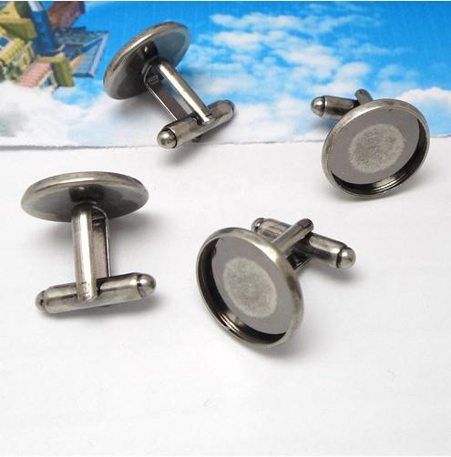 Antiqued Prata 16mm Rodada Configurações em branco Cuff Links # 22703